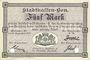 Banknotes Mulhouse (68). Ville. Billet 5 mark 10.9.1914. Annulé par double perforation