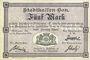 Banknotes Mulhouse (68). Ville. Billet 5 mark 10.9.1914. Non annulé
