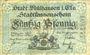 Banknotes Mulhouse (68). Ville. Billet 50 pfennig 1.5.1918. Type avec double numérotation. Non annulé