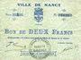 Banknotes Nancy (54). Ville. Billet. 2 francs 2 août 1914, série 1