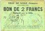 Banknotes Nesle (80). Ville. Billet. 2 francs