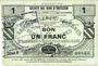 Banknotes Neuville-en-Avesnais (59). Pour les Maires des Communes adhérentes. Billet. 1 franc, série 8