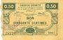 Banknotes Neuville-en-Avesnais (59). Pour les Maires des Communes adhérentes. Billet. 50 centimes, série 1