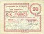 Banknotes Nomain (59). Commune. Billet. 10 francs 27.12.1914, série L