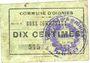 Banknotes Oignies (62). Commune. Billet. 10 centimes, série Z