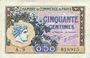 Banknotes Paris (75). Chambre de Commerce. Billet. 50 centimes 10.3.1920, série A.29