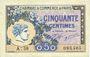Banknotes Paris (75). Chambre de Commerce. Billet. 50 centimes 10.3.1920, série A.58