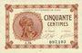 Banknotes Paris (75). Chambre de Commerce. Billet. 50 centimes 10.3.1920, série A.94