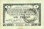 Banknotes Pas de Calais, Somme et Nord, Groupement de 70 communes. Billet. 1 franc 23.4.1915 série 2