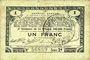 Banknotes Pas de Calais, Somme et Nord, Groupement de 70 communes. Billet. 1 franc 23.4.1915 série 2B