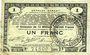 Banknotes Pas de Calais, Somme et Nord, Groupement de 70 communes. Billet. 1 franc 23.4.1915 série 2G