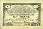Banknotes Pas de Calais, Somme et Nord, Groupement de 70 communes. Billet. 1 franc 23.4.1915 série 2H