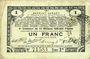 Banknotes Pas de Calais, Somme et Nord, Groupement de 70 communes. Billet. 1 franc 23.4.1915 série 2R