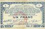 Banknotes Pas de Calais, Somme et Nord, Groupement de 70 communes. Billet. 1 franc 23.4.1915 série 3C