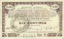 Banknotes Pas de Calais, Somme et Nord, Groupement de 70 communes. Billet. 10 centimes 23.4.1915 série 9A