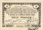 Banknotes Pas de Calais, Somme et Nord, Groupement de 70 communes. Billet. 2 francs 23.4.1915 série 3E