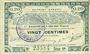 Banknotes Pas de Calais, Somme et Nord, Groupement de 70 communes. Billet. 20 centimes 23.4.1915 série 1A