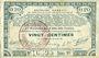 Banknotes Pas de Calais, Somme et Nord, Groupement de 70 communes. Billet. 20 centimes 23.4.1915 série 1C