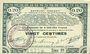 Banknotes Pas de Calais, Somme et Nord, Groupement de 70 communes. Billet. 20 centimes 23.4.1915 série 1D