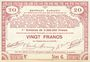 Banknotes Pas de Calais, Somme et Nord, Groupement de 70 communes. Billet. 20 francs  23.4.1915 série 6