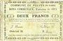 Banknotes Pelves (62). Commune. Billet. 2 francs 1.3.1915