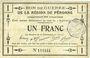 Banknotes Péronne (80). Bon de guerre de la Région de Péronne. Billet. 1 franc 2.9.1915