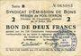 Banknotes Poix-Terron (08). Syndicat d'Emission. Billet. 2 francs 10.7.1916, série B