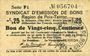 Banknotes Poix-Terron (08). Syndicat d'Emission. Billet. 25 centimes, 2e émission, mai 1917, série F1