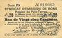 Banknotes Poix-Terron (08). Syndicat d'Emission. Billet. 25 centimes, 3e émission, août 1917, série F5