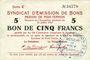 Banknotes Poix-Terron (08). Syndicat d'Emission. Billet. 5 francs 10.7.1916, série C