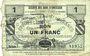 Banknotes Quiévy (59). Société des Bons d'Emission. Billet. 1 franc 5.3.1916, série 7, 2e émission