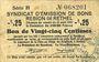 Banknotes Rethel (08). Syndicat d'Emission. Billet. 25 centimes 21.4.1917, 2e émission, série H