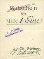 Banknotes Ribeauvillé (Rappoltsweiler) (68). Ch. Steiner. Billet, carton. G de Gutschein enroulé. 1 mark