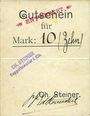 Banknotes Ribeauvillé (Rappoltsweiler) (68). Ch. Steiner. Billet, carton. G de Gutschein enroulé. 10 mark