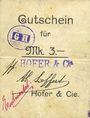 Banknotes Ribeauvillé (Rappoltsweiler) (68). Hofer & Cie. Billet, carton. G de Gutschein enroulé. 3 mark