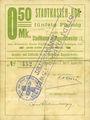 Banknotes Ribeauvillé (Rappoltsweiler) (68). Ville. Billet, carton. 0,50 mark. Annulation à l'avers par cachet