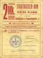Banknotes Ribeauvillé (Rappoltsweiler) (68). Ville. Billet, carton. 2 mark. Non annulé