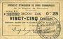 Banknotes Rimogne (08). Syndicat d'Emission. Billet. 25 centimes 26.4.1917, série U1