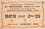 Banknotes Roche-la-Molière (42). Pharmacie Moderne C. Maurice. Billet. 25 centimes 8.5.1918, N° 3