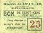 Banknotes Roubaix (59). Billet. 25 centimes, armoiries (5 mm)