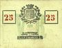 Banknotes Roubaix (59). Billet. 25 centimes, armoiries (8 mm)