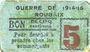 Banknotes Roubaix (59). Billet. 5 centimes, armoiries (5 mm)