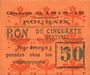 Banknotes Roubaix (59). Billet. 50 centimes, armoiries (6 mm)
