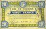 Banknotes Roubaix et Tourcoing (59). Billet. 20 francs 16.12.1916, 9e série. N° 7008