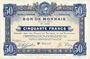 Banknotes Roubaix et Tourcoing (59). Billet. 50 francs du 12.8.1916, 8e série. N° 5214