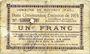 Banknotes Rouvroy (62). Commune. Billet. 1 franc 7.11.1915