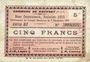Banknotes Rouvroy (62). Commune. Billet. 5 francs 7.11.1915, série G3