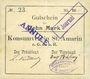Banknotes Saint-Amarin. Konsumverein. Billet. 10 mark (22.9.1914). Sign.. : L. Vuillard et Eug Kühner. Avec Fi