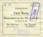 Banknotes Saint-Amarin. Konsumverein. Billet. 5 mark (22.9.1914). Signatures. : L. Vuillard et E Kühner