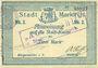 Banknotes Sainte-Marie-aux-Mines. Ville. Billet. 2 mark (7.8.1914). Bleu clair. M. Dreyfuss et A. Hoff. Cachet